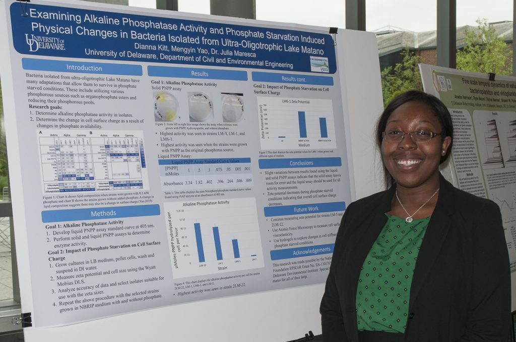 Photo of a young woman standing in front of her research poster